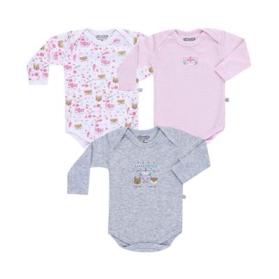 body-manga-longa-kit-3-pecas-pimpolho-rosa-branco-e-cinza