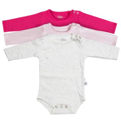 body-basico-manga-longa-kit-3-pecas-pink-rosa-claro-e-creme-com-detalhes-coloridos